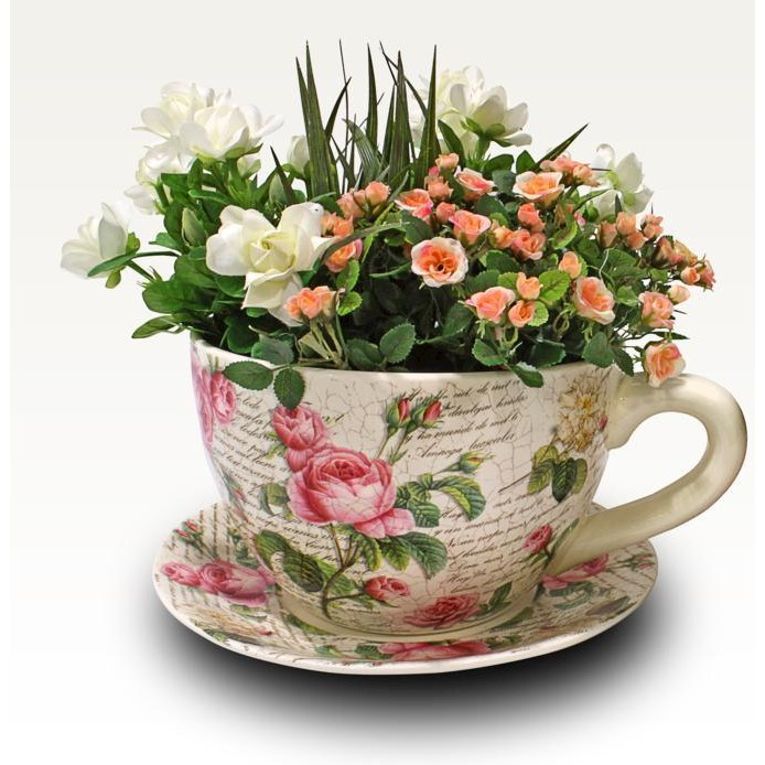 Latest Interiors Porcelain Skin: New Porcelain Classic Rose Teacup And Saucer Pot Planter