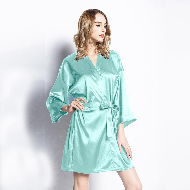 d91fa3393bb7 h m s Remaining. Satin Kimono Robe in Tiffany Blue