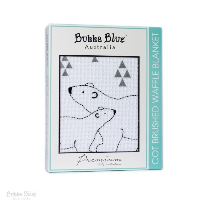 Bubba Blue Polar Bear Cot Brushed Waffle Blanket  9a3c82282