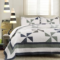 Luxury 100% Cotton Coverlet / Bedspread Set Patchwork Quilt King / Super King Bed 245x285cm Windmill