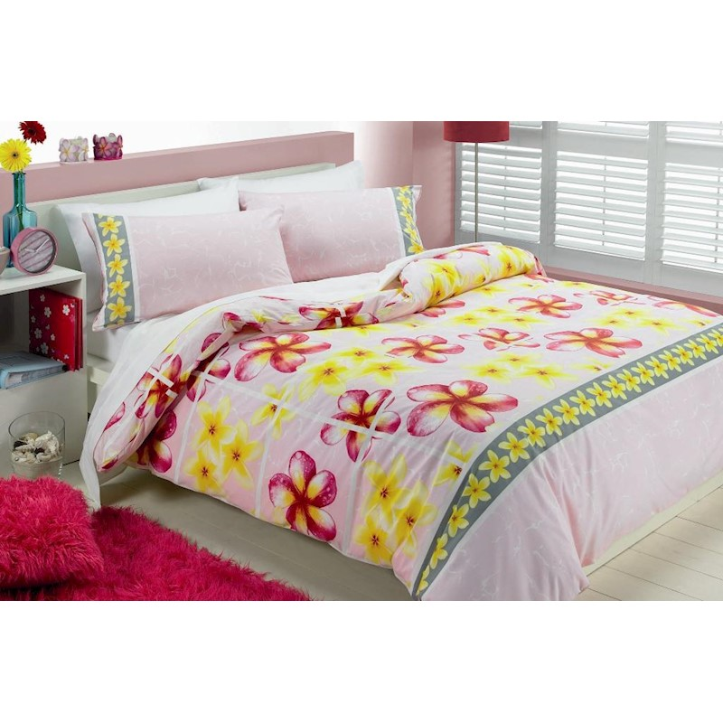 Frangipani Pink Single Bed Doona / Quilt Cover Set