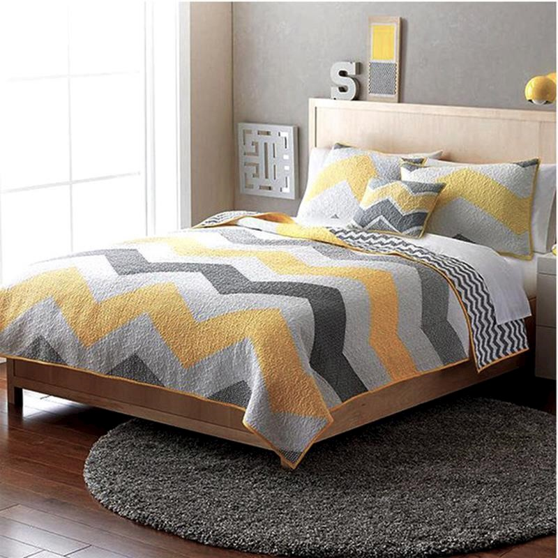 Luxury 100 Cotton Coverlet Bedspread Set Quilt King Super King Bed 240x270cm Yellow