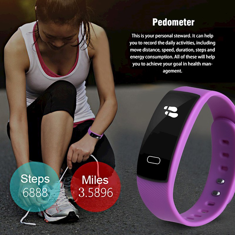 Diggro QS80 Heart Rate Smart Bracelet Wristband Watches IP69 Sleep Monitor  Call Reminder Pedometer for Android iOS-Purple