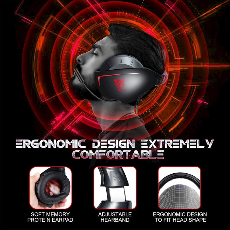 Over Ear Gaming Headset For PS4 PC Xbox One Laptop Computer Gaming  Headphone With Soft Earmuff Dynamic Surrounding Stereo Subwoofer-Red
