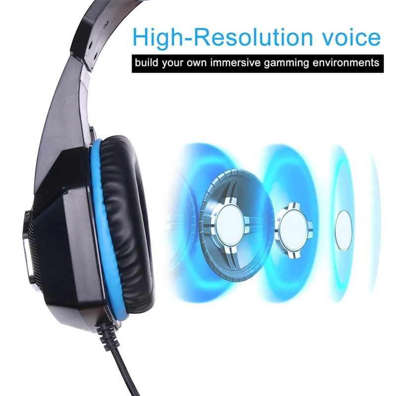 Universal Gaming Headset with Mic Ear Headphone Compatibility Headset for  PS4 ,Xbox Laptop, Computer, Tablet, iPad, Mobile Phone-Blue