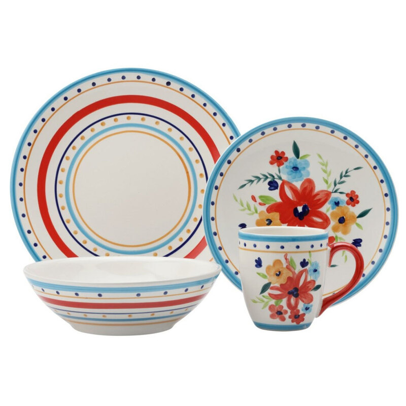 4d8fd944f213 h m s Remaining. Casa Domani Florian 16 Piece Dinner Dining Kitchen  Bowls Mug Plate Red Table Set