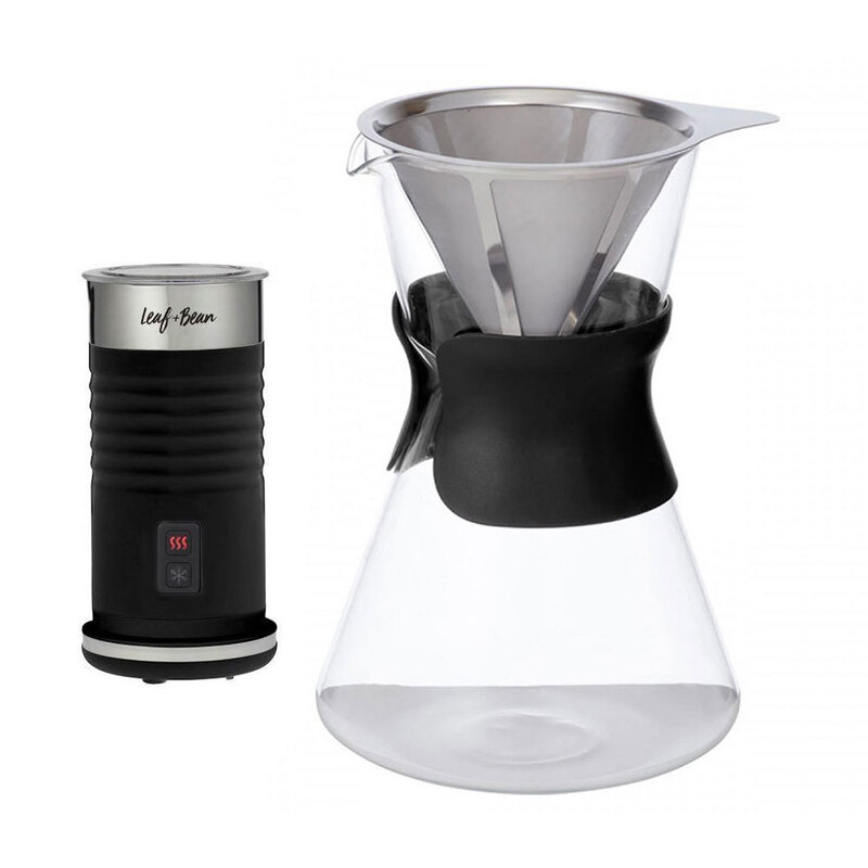 Leaf Bean Manual Filter Drip Coffee Brewer Electric Milk Frother