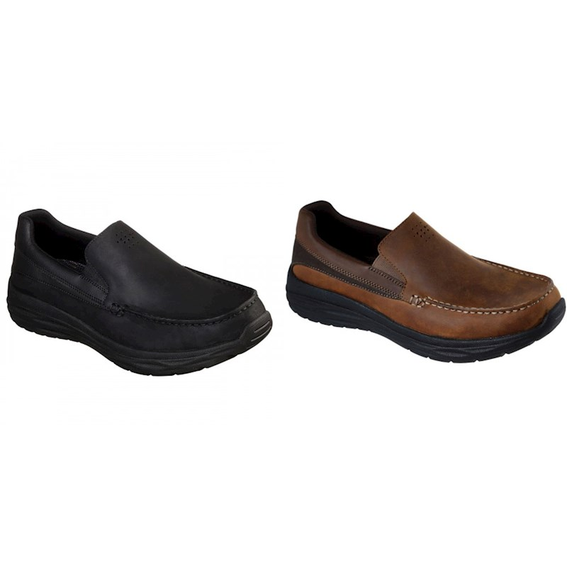 Skechers Harsen Ortego Classic Fit Mens Slip-On Leather Shoes Loafers Brown