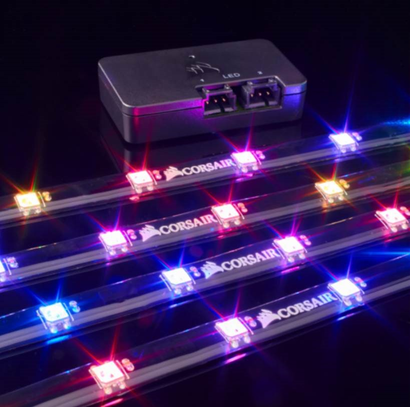 CORSAIR Lighting Node PRO with 4x RGB LED Strips and Controller  2x RGB FAN  Hub