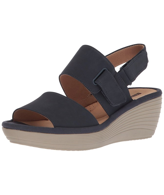ce84288878f Clarks Womens Reedly Breen Leather Open Toe Casual Slingback Sandals ...