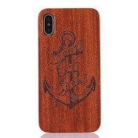 For iPhone XS,X Back Case,Anchor Lost Sea Rosewood Durable Shielding Cover