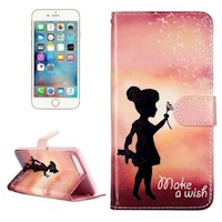 For iPhone 8 PLUS,7 PLUS Wallet Case,Stylish Wishing Girl Protective Cover
