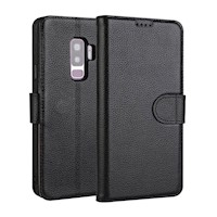 For Samsung Galaxy S9 Case Fashion Wallet Cowhide Genuine Leather Cover,Black