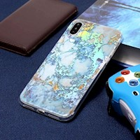 For iPhone XS Max Case Gold Color Plated Marble TPU Cover Body