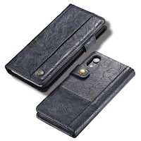 For iPhone XR Case,Blue Rough Texture PU Leather Folio Cover,4 Slots