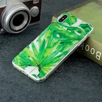 For iPhone XS Max Case Green Leaf TPU Protective Back