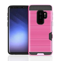 Magenta Brushed Card Slot Armoured For Samsung Galaxy S9 PLUS Case