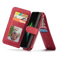 For iPhone XR Case,Red Wild Horse Texture Detachable Folio Cover,14 Card Slots