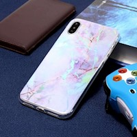For iPhone XR Case,Purple Color Plated Marble Protective Back Cover