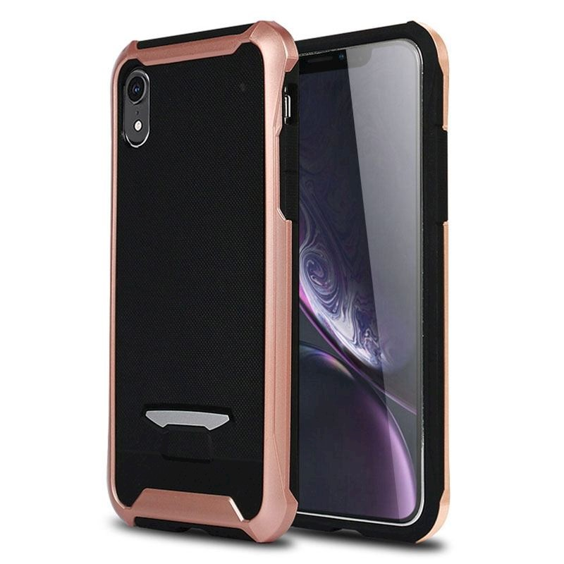 the latest 36f1e 4c54e Bumblebee TPU + PC Texture Protective Back Cover Case for iPhone XR,Rose  Gold