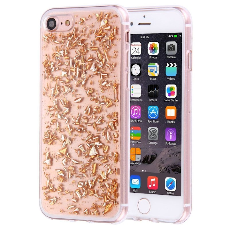 For iPhone 8,7 Case,Elegant Scatter Platinum Crystals Protective Cover,Rose  Gold