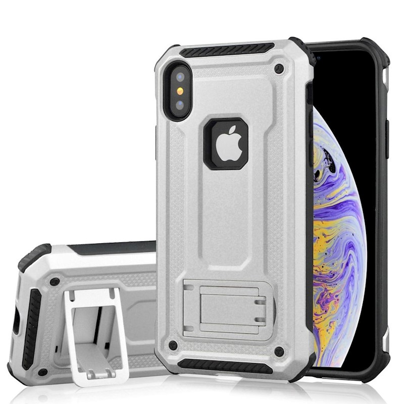 factory price c99dc 026a1 For iPhone XS Max Cover,Shockproof Thin Strong Armor Kickstand Phone  Case,Silver