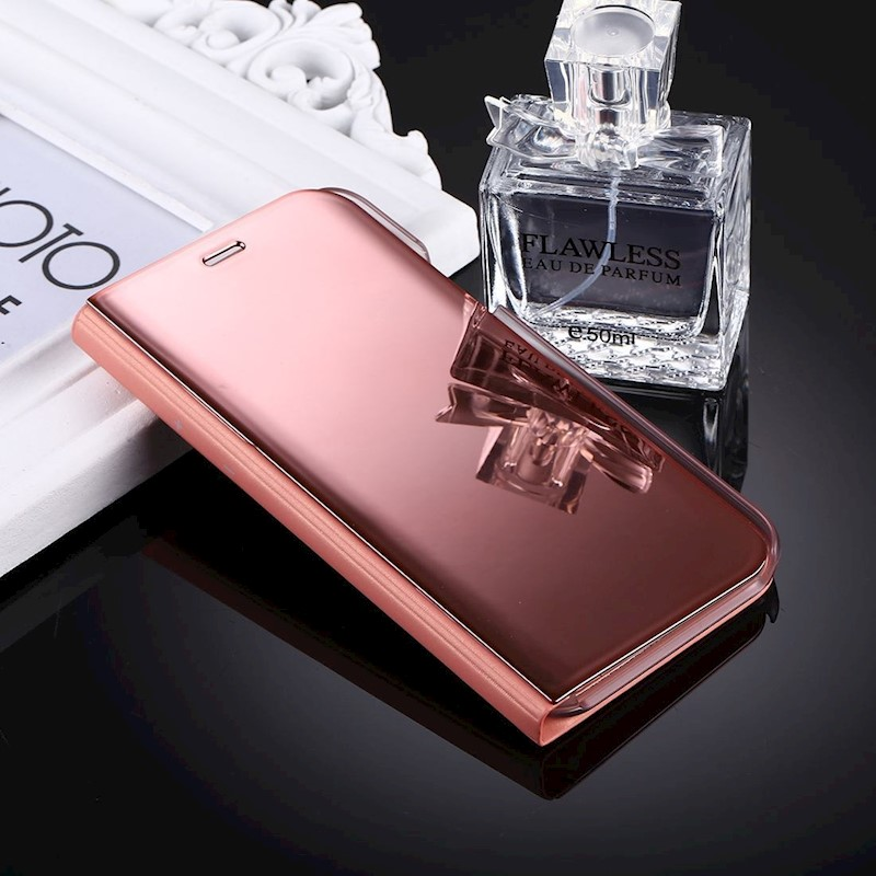 iPhone XS,X Case, Electroplating Mirror Flip Durable Leather Cover,Rose Gold