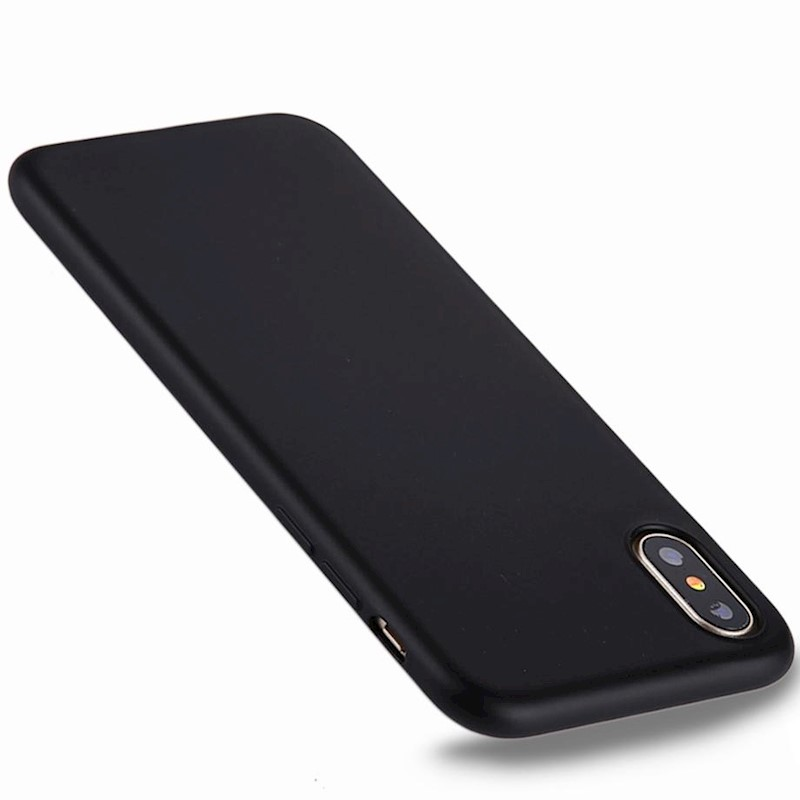 For iPhone XS,X Case,Pure Color Electroplating Durable Protective  Cover,Black