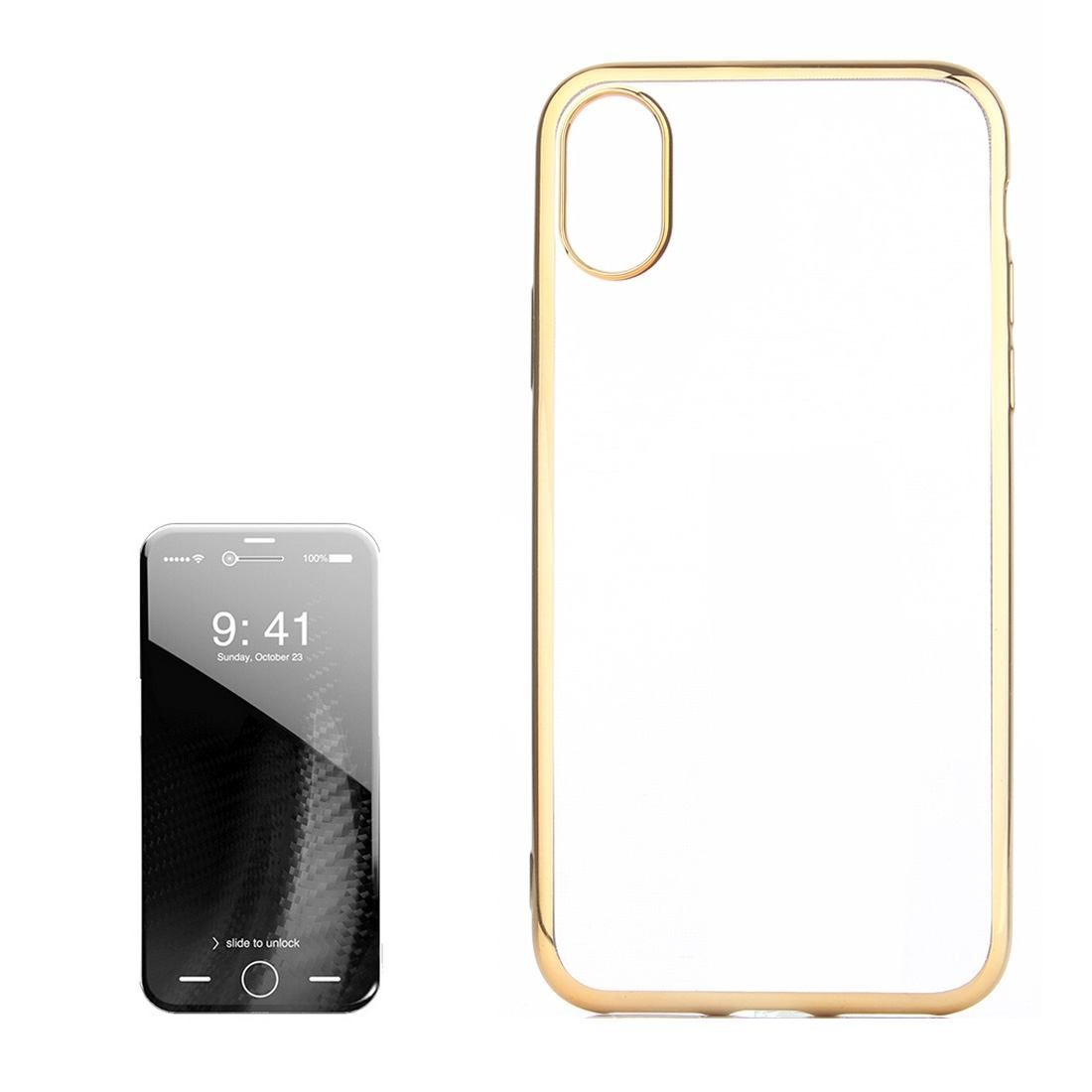 For iPhone XS,X Case,Transparent Electroplating Durable Protective  Cover,Gold