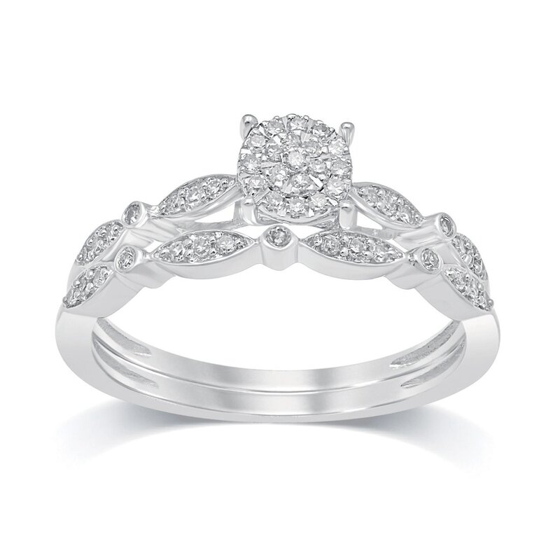 Bevilles 9ct White Gold 0.20ct Diamond Ring With Matching