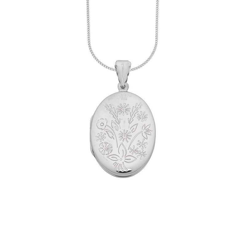 72c558583 h m s Remaining. Bevilles Sterling Silver Flower Engraved Oval Locket  Necklace Pendant