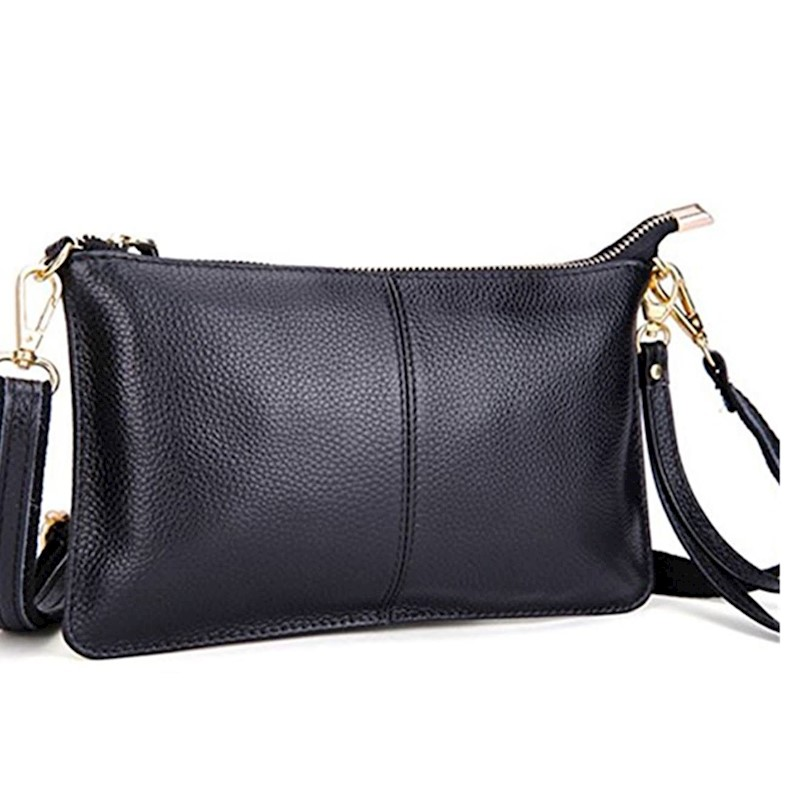 afa0f9300ea82 Damentaschen CLUTCH BAG PURSE BLACK WITH WRIST STRAP LINED INTERIOR FAUX  LEATHER WRISTLET
