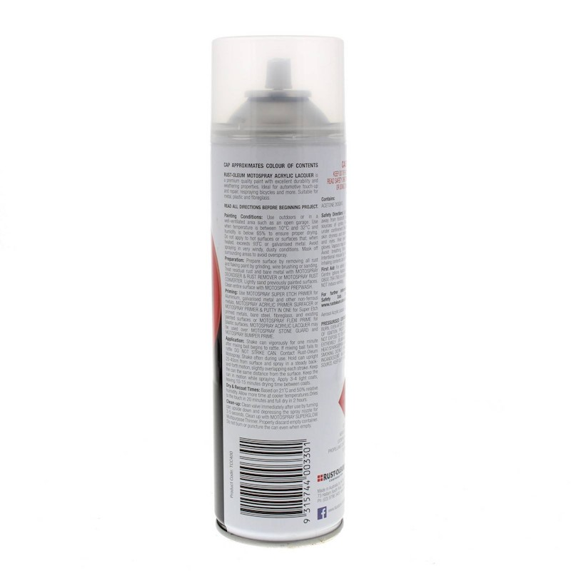Top Coat Clear Spray Acrylic Lacquer Paint Can 400g