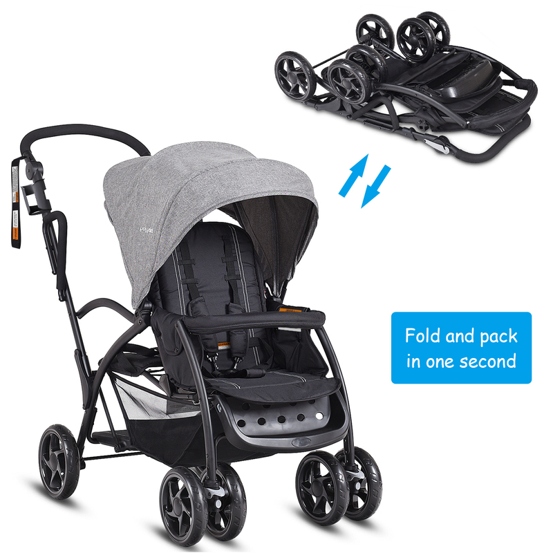 Ultra 2in1 Stand Amp Ride Twin Baby Stroller Toddler Bassinet