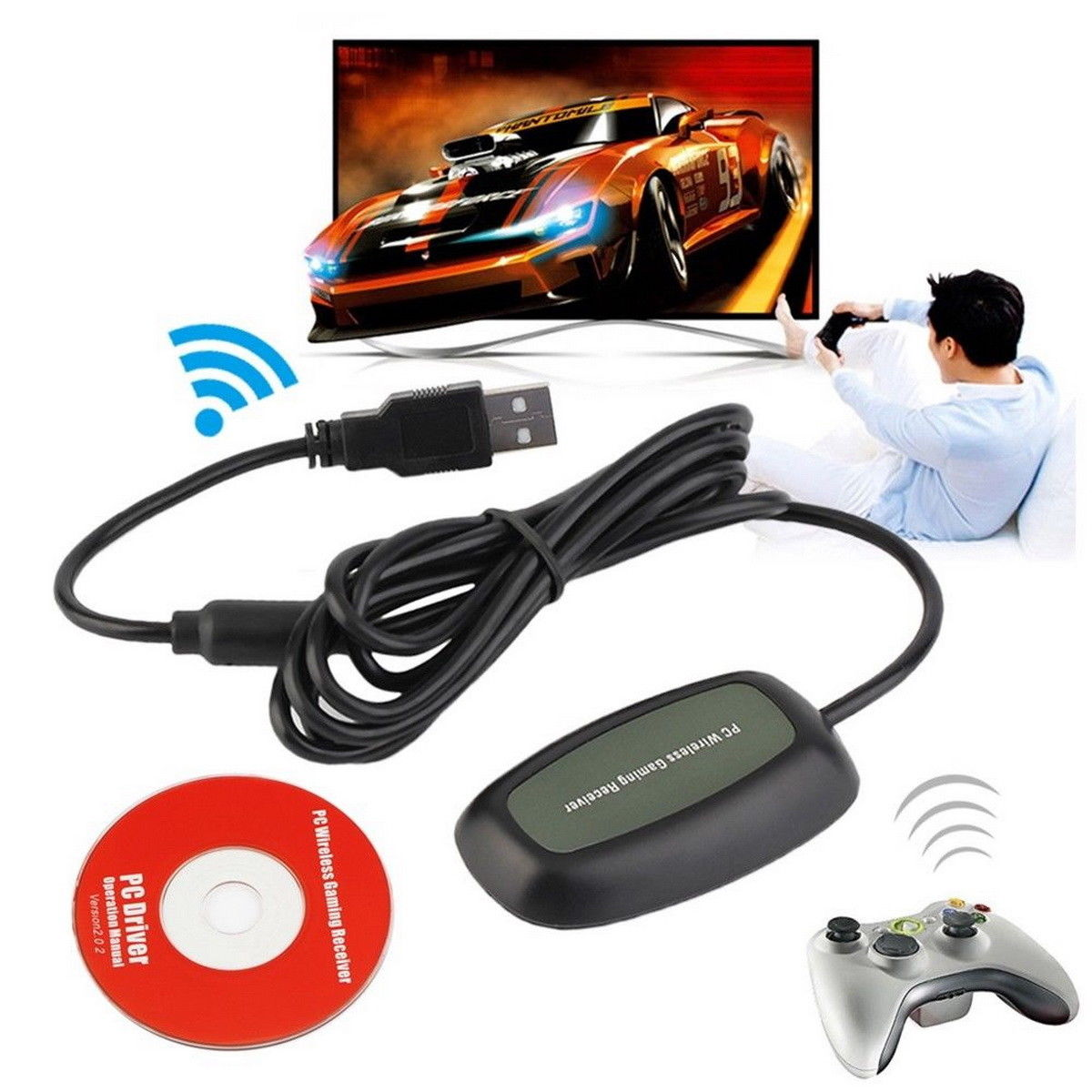 XBOX 360 Controller Wireless Gaming Receiver Adapter for PC
