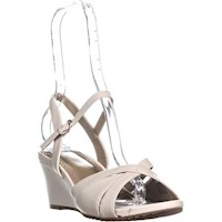 588e4bc0ec Easy Spirit Laralee Peep Toe Ankle Strap Wedge Sandals, Ivory