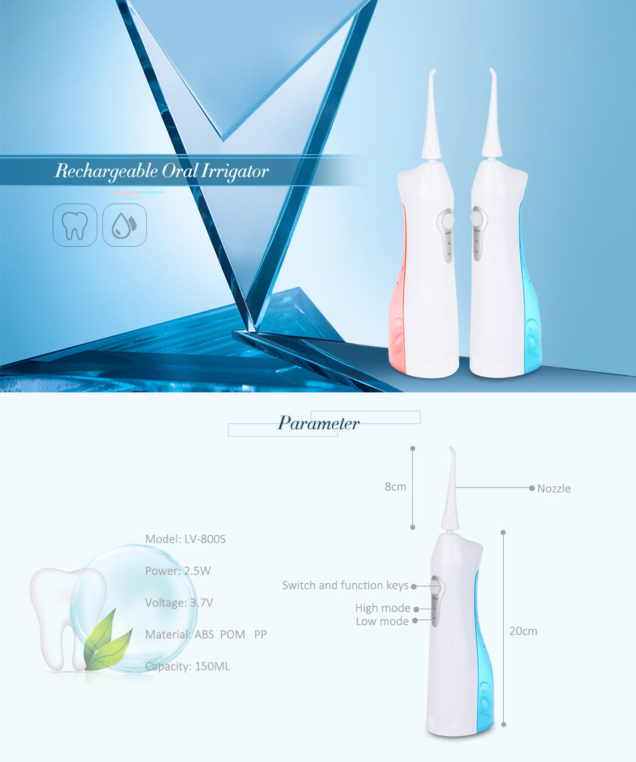 LV - 800S Rechargeable Oral Irrigator Teeth Electric Water