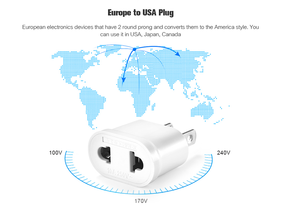 gocomma WN - 20 EU to US Socket Power Adapter   Buy Cables