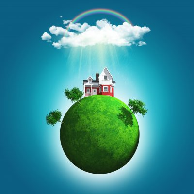 3D render of a grassy globe with a house and trees under rainbow