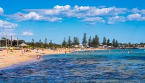 A Sunny Day With People At Elwood Beach In Elwood, Victoria, Australia