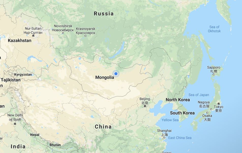 Mongolia is located between Russia and China