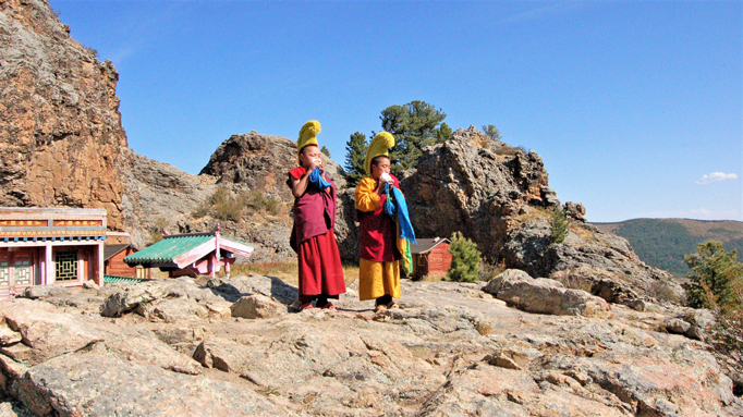 Young monkls at Tuvhun monastery, Central Mongolia