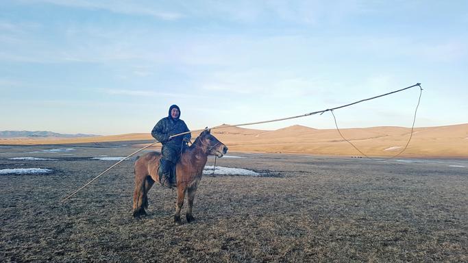 A horseman with uurga, Central Mongolia