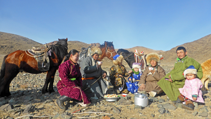 Nomadic family moving in November, Western Mongolia