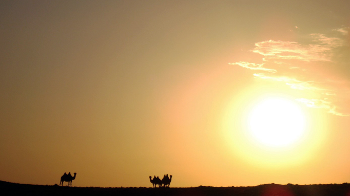 The sunset in the Gobi Desert