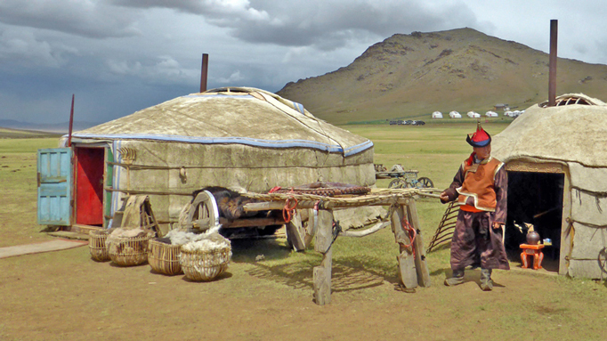 Nomadic herder outside his ger