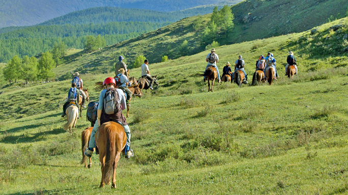 Group horseback riding tour in Mongolia