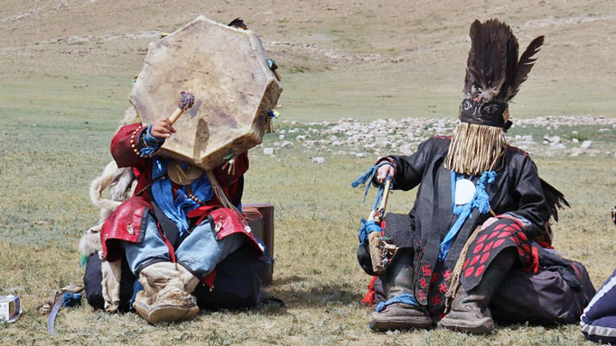 Two Mongolian shamans performing