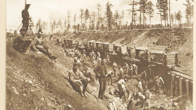 Workers building Trans-Siberian Railroad