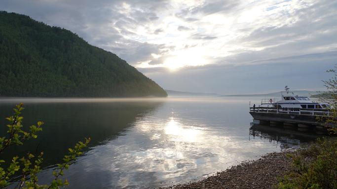 Angara river along the Trans-Siberian Railway